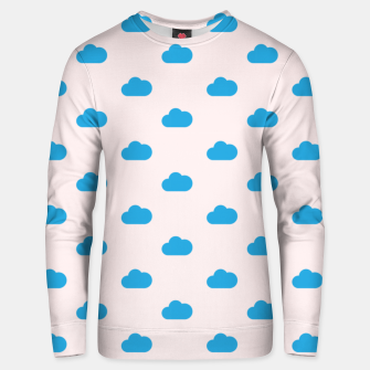Thumbnail image of Kawaii blue clouds on pastel sky Unisex sweater, Live Heroes