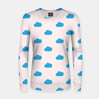Thumbnail image of Kawaii blue clouds on pastel sky Women sweater, Live Heroes