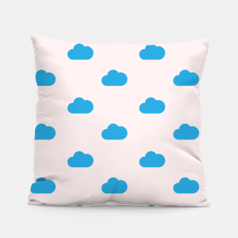 Thumbnail image of Kawaii blue clouds on pastel sky Pillow, Live Heroes