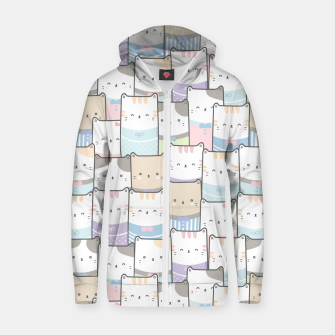 Thumbnail image of Cats Wall Zip up hoodie, Live Heroes