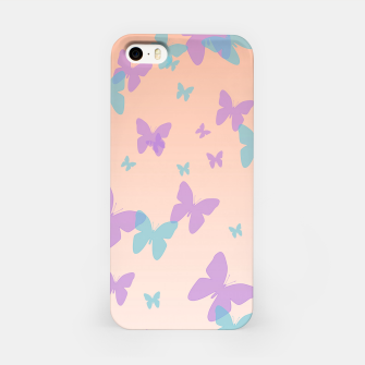 Thumbnail image of Floral lavender and cornflower blue butterflies pattern design iPhone Case, Live Heroes