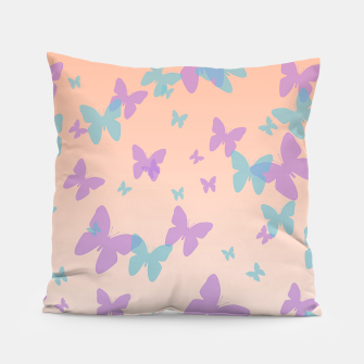 Thumbnail image of Floral lavender and cornflower blue butterflies pattern design Pillow, Live Heroes