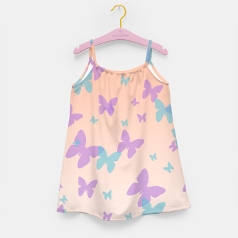 Thumbnail image of Floral lavender and cornflower blue butterflies pattern design Girl's dress, Live Heroes