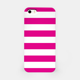 Thumbnail image of Hot pink and white stripes pattern design iPhone Case, Live Heroes
