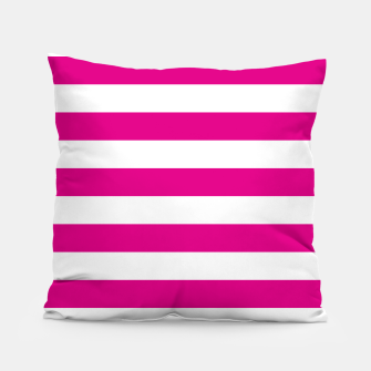 Thumbnail image of Hot pink and white stripes pattern design Pillow, Live Heroes