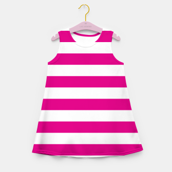 Thumbnail image of Hot pink and white stripes pattern design Girl's summer dress, Live Heroes