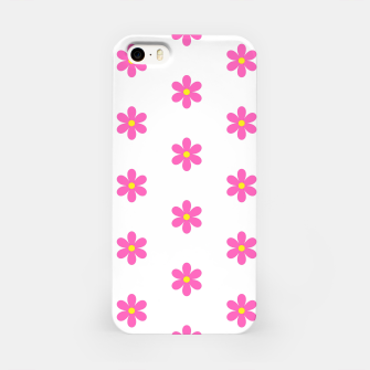 Thumbnail image of Pink flowers pattern design on white iPhone Case, Live Heroes