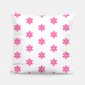 Thumbnail image of Pink flowers pattern design on white Pillow, Live Heroes