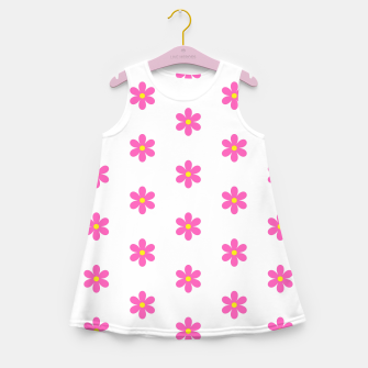 Thumbnail image of Pink flowers pattern design on white Girl's summer dress, Live Heroes