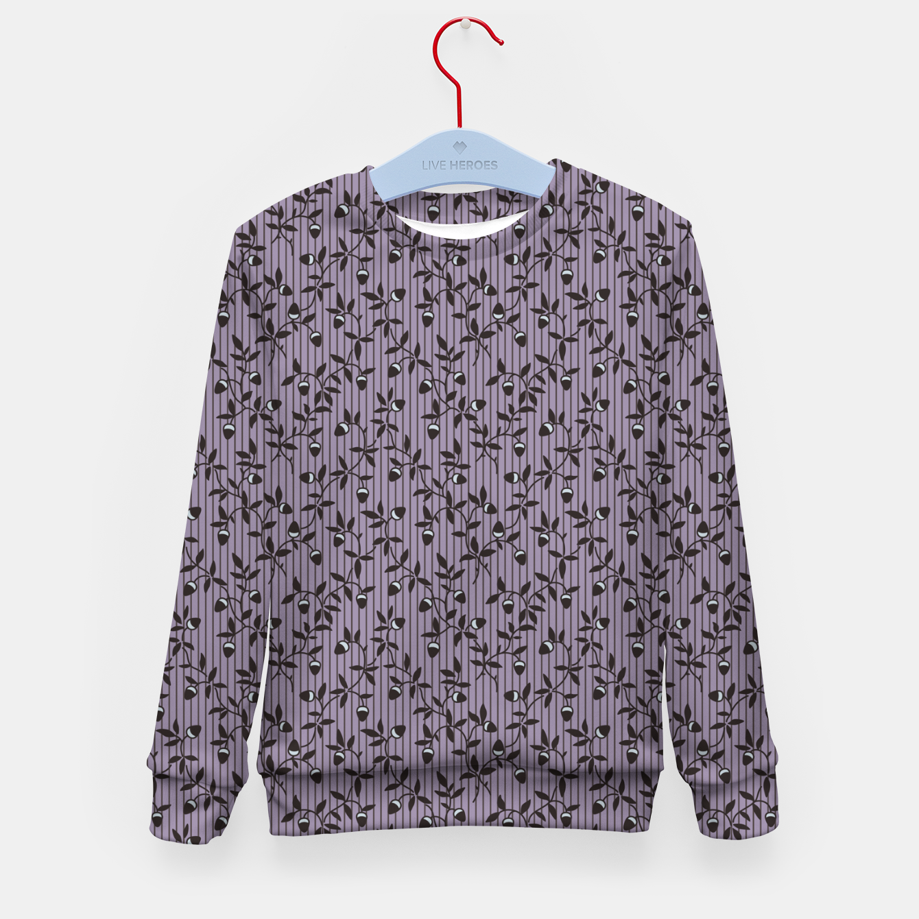 Image of Ornate hazel branches in violet Kid's sweater - Live Heroes