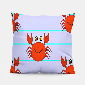 Thumbnail image of Red crabs on stripes Pillow, Live Heroes