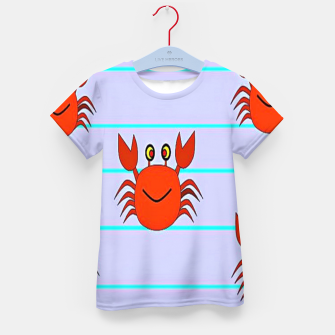 Thumbnail image of Red crabs on stripes Kid's t-shirt, Live Heroes