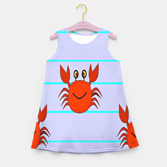 Thumbnail image of Red crabs on stripes Girl's summer dress, Live Heroes