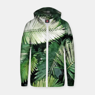 Life Is Better With Palm Trees, Tropical Nature Jungle Painting, Watercolor Nature Bohemian Plants Zip up hoodie thumbnail image