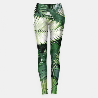 Life Is Better With Palm Trees, Tropical Nature Jungle Painting, Watercolor Nature Bohemian Plants Leggings thumbnail image