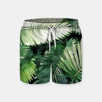 Life Is Better With Palm Trees, Tropical Nature Jungle Painting, Watercolor Nature Bohemian Plants Swim Shorts thumbnail image