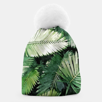 Life Is Better With Palm Trees, Tropical Nature Jungle Painting, Watercolor Nature Bohemian Plants Beanie thumbnail image