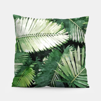 Life Is Better With Palm Trees, Tropical Nature Jungle Painting, Watercolor Nature Bohemian Plants Pillow thumbnail image