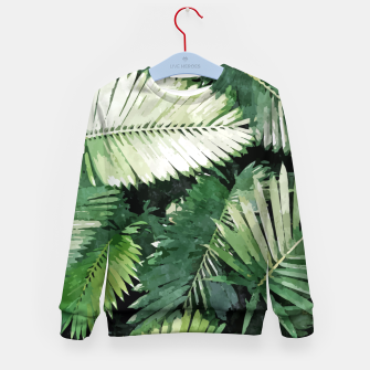 Life Is Better With Palm Trees, Tropical Nature Jungle Painting, Watercolor Nature Bohemian Plants Kid's sweater thumbnail image