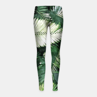 Miniaturka Life Is Better With Palm Trees, Tropical Nature Jungle Painting, Watercolor Nature Bohemian Plants Girl's leggings, Live Heroes