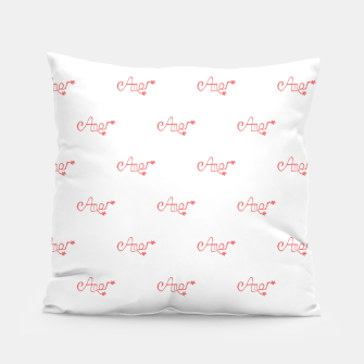 Miniatur Spanish Love Text Drawing Pattern Pillow, Live Heroes