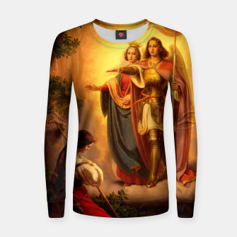 Miniature de image de Appearance of Sts Catherine and Michael to Joan of Arc by Hermann Stilke Women sweater, Live Heroes