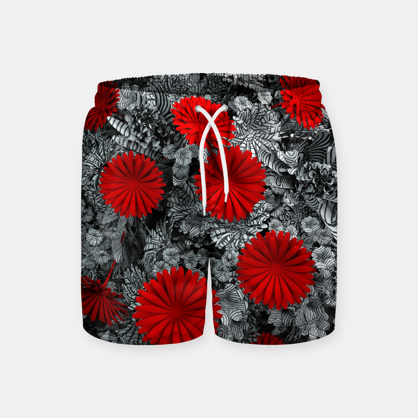 Image of Red Garden Swim Shorts - Live Heroes