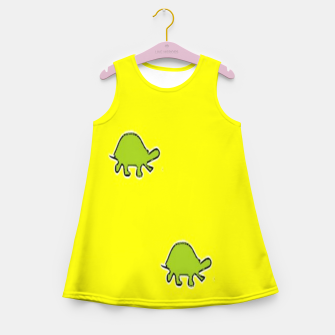 Thumbnail image of Green turtles on yellow Girl's summer dress, Live Heroes