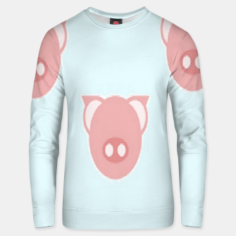 Thumbnail image of Pink piglets on blue Unisex sweater, Live Heroes