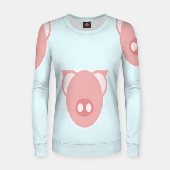 Thumbnail image of Pink piglets on blue Women sweater, Live Heroes