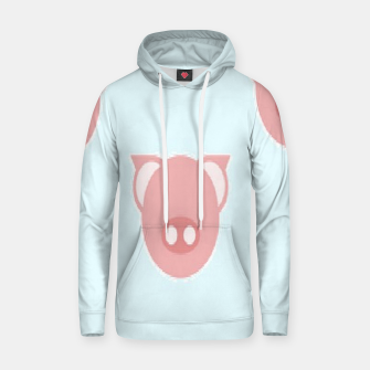 Thumbnail image of Pink piglets on blue Hoodie, Live Heroes