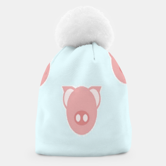 Thumbnail image of Pink piglets on blue Beanie, Live Heroes