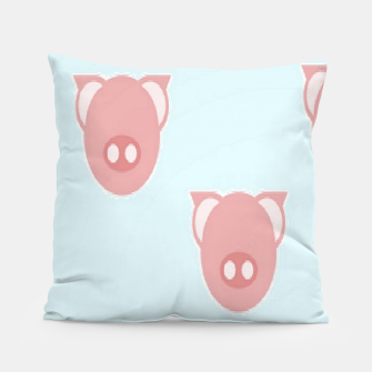 Thumbnail image of Pink piglets on blue Pillow, Live Heroes