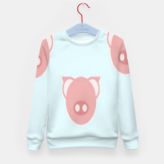 Thumbnail image of Pink piglets on blue Kid's sweater, Live Heroes