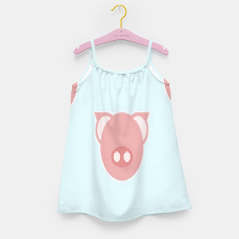 Thumbnail image of Pink piglets on blue Girl's dress, Live Heroes