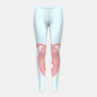 Thumbnail image of Pink piglets on blue Girl's leggings, Live Heroes