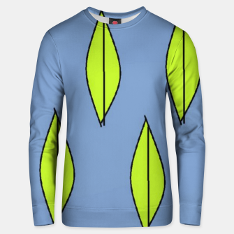 Thumbnail image of Green leaves on blue Unisex sweater, Live Heroes