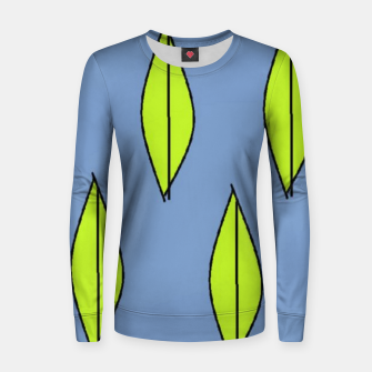 Thumbnail image of Green leaves on blue Women sweater, Live Heroes