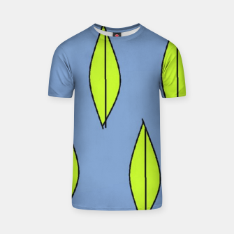 Thumbnail image of Green leaves on blue T-shirt, Live Heroes
