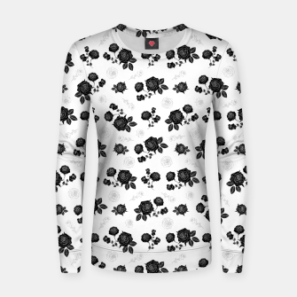 Thumbnail image of B&W Roses - White version Women sweater, Live Heroes