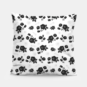 Thumbnail image of B&W Roses - White version Pillow, Live Heroes