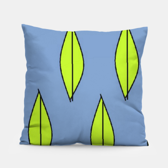 Thumbnail image of Green leaves on blue Pillow, Live Heroes