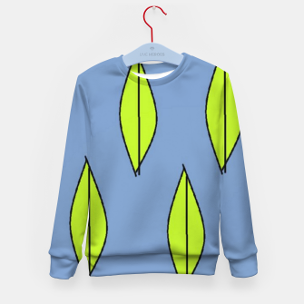 Thumbnail image of Green leaves on blue Kid's sweater, Live Heroes