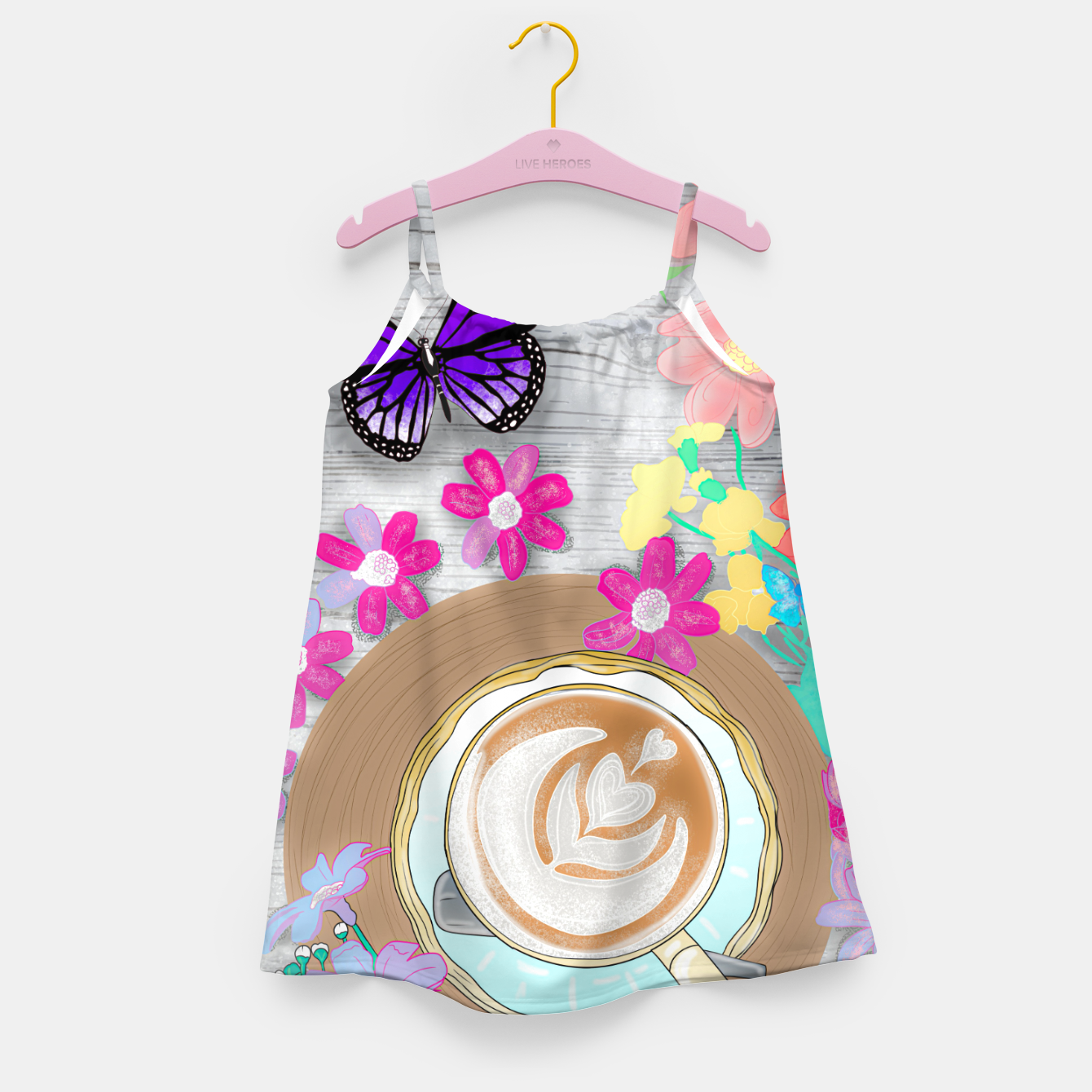 Image of coffee cup and butterflies Girl's dress - Live Heroes