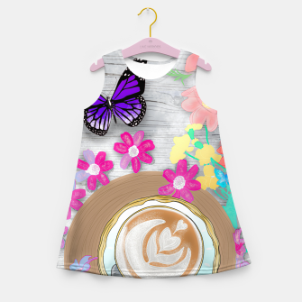 Thumbnail image of coffee cup and butterflies Girl's summer dress, Live Heroes