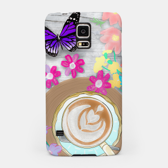 Thumbnail image of coffee cup and butterflies Samsung Case, Live Heroes