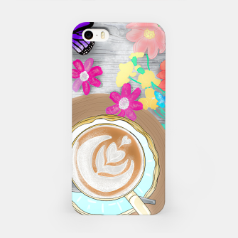 Thumbnail image of coffee cup and butterflies iPhone Case, Live Heroes