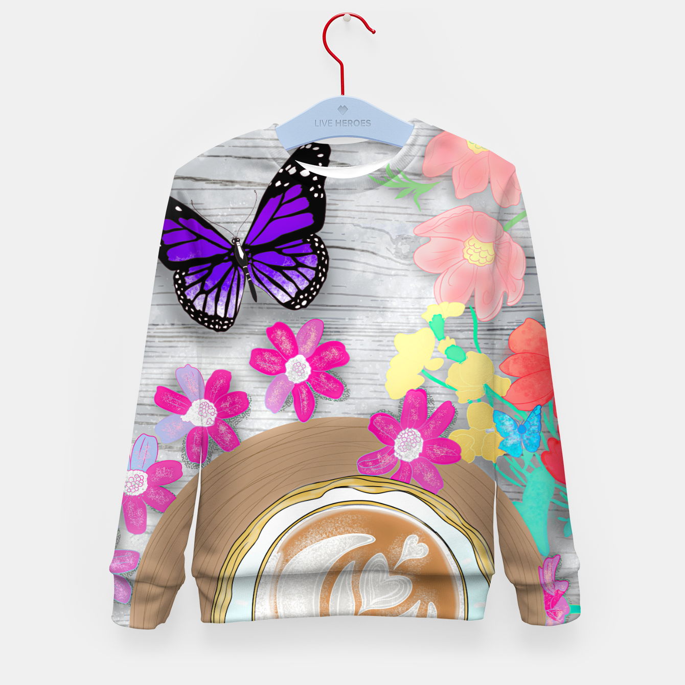 Image of coffee cup and butterflies Kid's sweater - Live Heroes