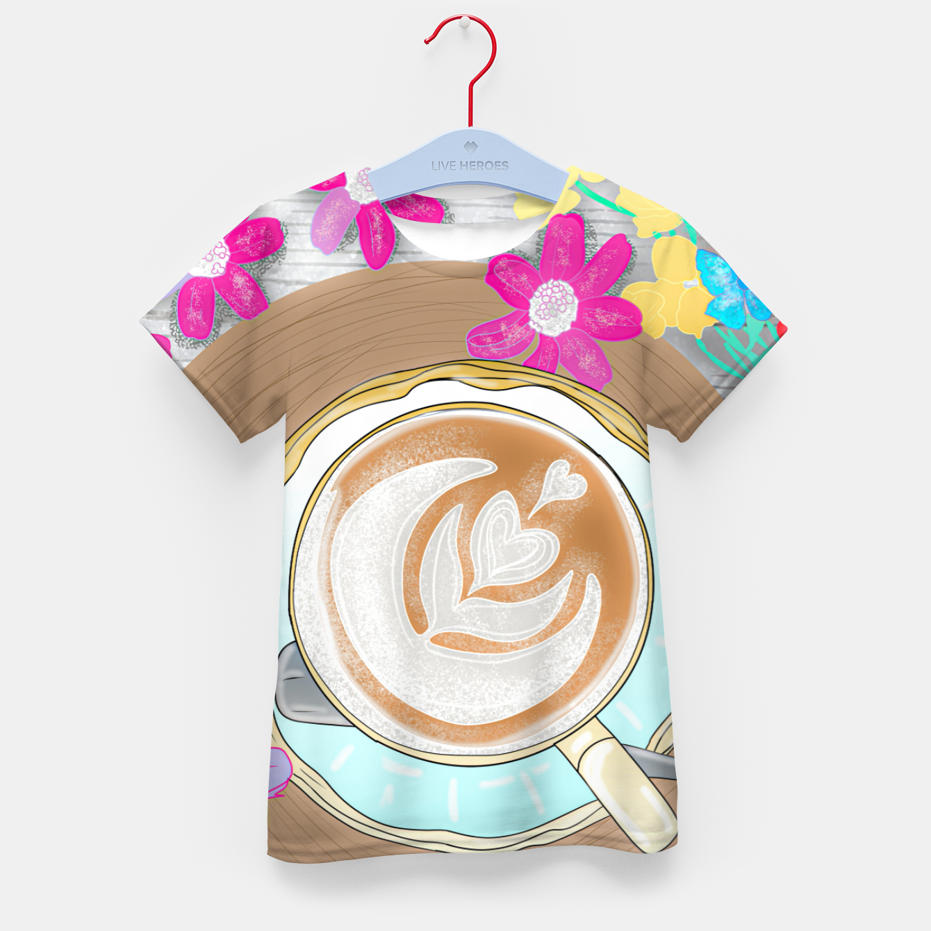 Image of coffee cup and butterflies Kid's t-shirt - Live Heroes