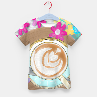 Thumbnail image of coffee cup and butterflies Kid's t-shirt, Live Heroes